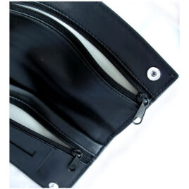 """Black Nappa Leather 2-stud pouch for """"Roll-Your-Own"""","""