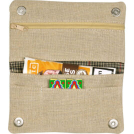 Jute Roll Your Own pouch; Holds pkt, lined, Magnetic closure