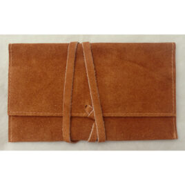 Roll-up suede leather Roll Your Own pouch; holds packet