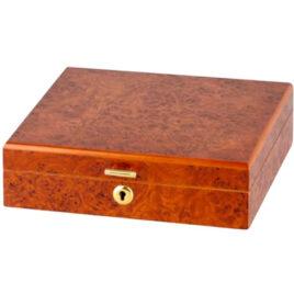 Burl Desk Humidor for 10 cigars, with Cigar Scissors;