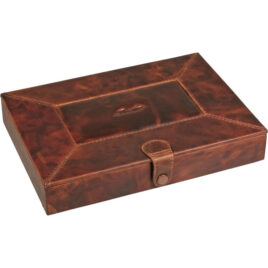 Desk Humidor for 10 cigars; covered with antique brown leather