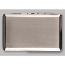 Sturdy tin for RYO tobacco; 11cm x 7cm; Brushed chrome