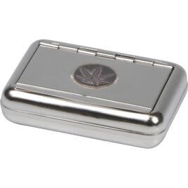Sturdy tin for RYO tobacco; 9.5 x7cm; CannabisLid, brushed Chr