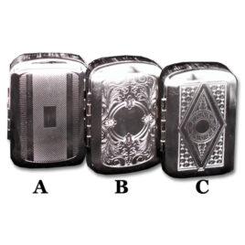 Sturdy nickel tin for RYO tobacco; 8.5cm x 6cm; asstd designs
