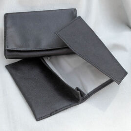 Roll-up Pouch<br>Soft; Black nappa leather, ripple finish