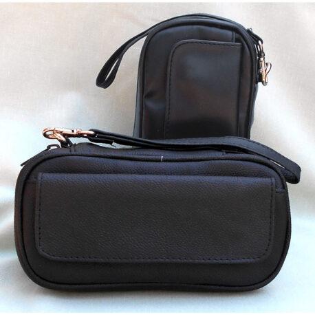 Black Nappa Leather 3-Pipe Bag