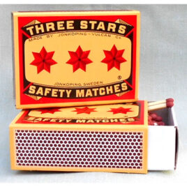 Average 90 x 55mm Three Star Matches slightly thicker than normal