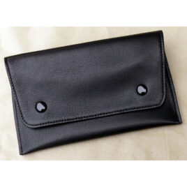Dunhill White Spot Button Pouch; Soft black lambskin