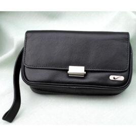 2-Pipe Bag, Black Leather, zip closure; metal clasp and emblem