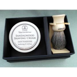 60g TaylorsSandalwood Sh.Cream,16mm MixBadger, MockIvory handle