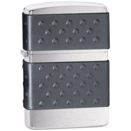Zippo lighter, Brushed Chrome with Black Zip Guard