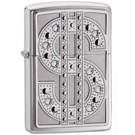 Zippo lighter, Dollar sign with Swarovski crystals, HP Chrome