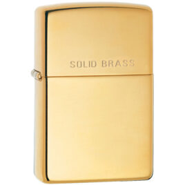 "Zippo lighter, high polish Brass, engraved ""Solid Brass"""