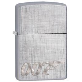 Zippo lighter, 007, James Bond logo, on Linen Weave pattern