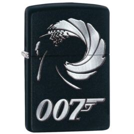 Zippo lighter, Gun Barrel 007, James Bond logo, on Black Matte