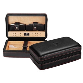 Leather Cohiba Travel Case, with Cutter, Humidifier, Lighter