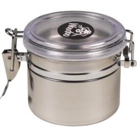 Woodoo can, st.steel, air tight 700ml; 8.5cm high, Ø10cm, clear lid