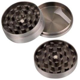 Grinder, Metal, Ht27x50mm,3 part, screen, scraper, Cannabis lid