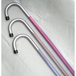 Crook Walking Stick; Silver handle, Pastel colour wood shaft