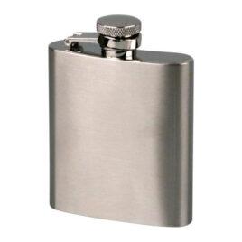 Hip Flask; Captured lid; 3oz/90ml; Satin Chrome;