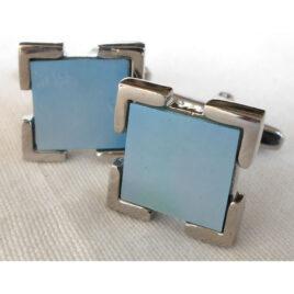 Cuff Links, Sq.Blue Cloisonne (enamel décor)