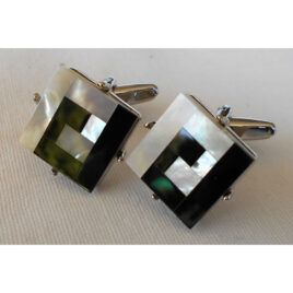 Cuff Links, Mother of Pearl and Black on Chrome